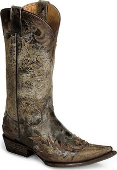 Stetson Brown Stonewashed Wingtip Cowgirl Boot - Snip Toe