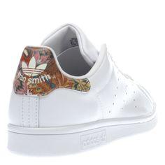 womens adidas white & orange stan smith floral trainers