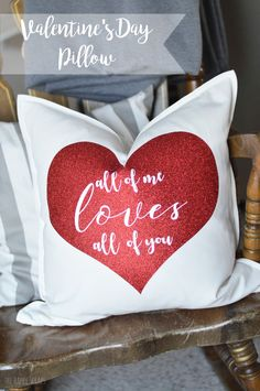 Glitter Iron-on vinyl is so fun to work with! It's mess free and you still get the shimmer. Learn how I used it and my Cricut Explore Air 2 to make this Valentine's Day Pillow.