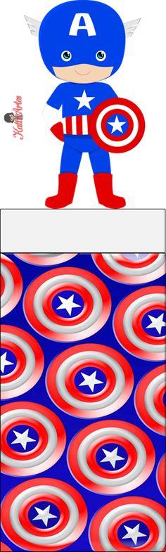 EUGENIA - KATIA ARTES - BLOG DE LETRAS PERSONALIZADAS E ALGUMAS COISINHAS: Embalagem Bis Duplo Superhero Images, Baby Superhero, Superhero Birthday Party, Boy Birthday Parties, Birthday Ideas, Captain America Images, Captain America Party, Captain America Birthday, Fourth Birthday