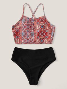 Off The Shoulder Double Ruffle Tankini Top - Red Plum Embroidery Flora