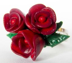 Red Rose Ring, Handmade, Twilight Inspired, Two Tone Red Polymer Clay, Adjustable Silver Plated Ring
