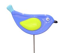 Blue Bird - Fused Glass Plant Stake