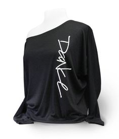 """Off Shoulder Womens  Dance Top titled """"Sidescript Dance"""".  For ballet, jazz, tap, and contemporary dancers, teachers and choreographers."""