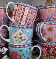 """Mugs with patterns by Pip Studios, a really fun Dutch company that sells great housewares and wall paper, with a distinctive modern Dutch cottage style."""