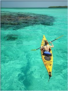 Kayaking in clear waters. #MeetTheMoment