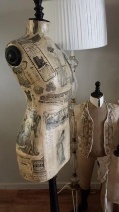 A decoupaged tailors dummy makes a beautiful vintage flavour display item.
