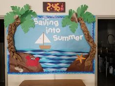 Summer Bulletin Board ideas to feed the sunny side of life - Ethinify - JULİANE Beach Bulletin Boards, Toddler Bulletin Boards, Classroom Board, Classroom Bulletin Boards, Classroom Crafts, Classroom Themes, Toddler Classroom, Sailing Bulletin Board, Bulletin Board Tree