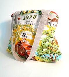 vintage tea towel tote More
