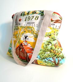 vintage tea towel tote Oh my god, I'm vintage...the year