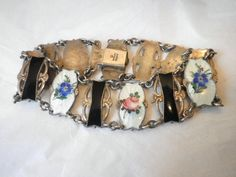 Guilloche Sterling Enamel Flower Bracelet Ivar T. Holt Norway