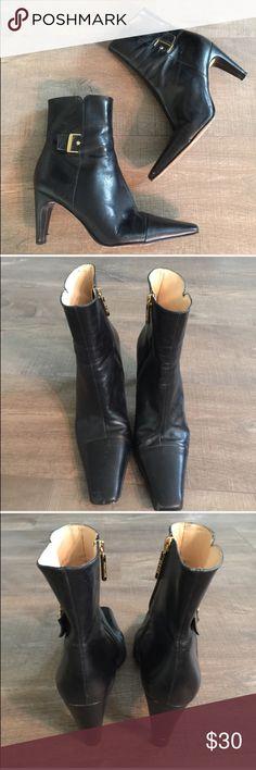 Antonio Melani black leather booties Gently worn , size 8.5 , leather , heel is 3.5 , some wear on heels as shown ANTONIO MELANI Shoes Heeled Boots