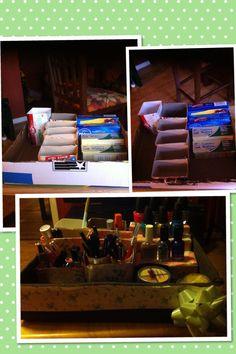 Makeup Organizer with cardboard. Organizador de maquillaje con cajas de carton.