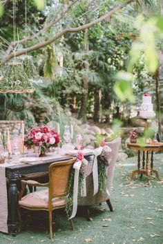 Garden Party Decor | Pink + Green Event | Backyard Party Inspiration | Bridal Shower Inspiration | Intimate Gathering | birchandbrass.com