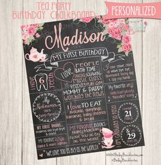 Check out this item in my Etsy shop https://www.etsy.com/listing/384370216/tea-party-first-birthday-chalkboard