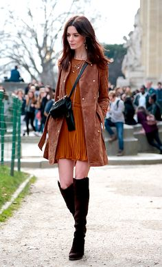 Autumnal look suede coat, dress and boots