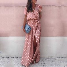 Sexy Pink Wave Point Maxi Dress – streetstyletrends maxi skirt and dresses maxi skirt summer summer dresses maxi dress maxi Modest Dresses, Casual Dresses, Fashion Dresses, Maxi Dresses, Dot Dress, Dress Skirt, Mode Abaya, Maxi Outfits, Look Boho