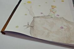 """Caderninho de capa flexível """"O Pequeno Príncipe"""". Cópia livre de ilustração já existente e aquarela. #solarar #encadernação #illustration por Ana Câmara"""