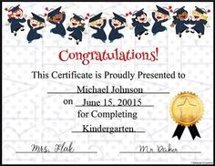 Recognize your preschool, kindergarten and elementary school graduates with this fun certificate. Adding text to your certificates on your PC is easy- directions are included. 5th Grade Graduation, Kindergarten Graduation, Pre Kindergarten, Graduation Ideas, Graduation Certificate Template, Certificate Templates, Award Certificates, 5th Grades, Kids Education