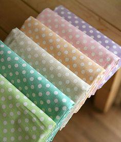 Pastel Polkadot Cotton Blended Linen on etsy!