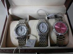 August Steiner Women's Diamond Wardrobe Watch Set: PINK & SilverTone ASGP8063SS