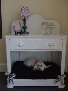 Items similar to Vintage night stand/ dog bed on Etsy Vintage Nightstand, Crate Nightstand, Dog Furniture, Furniture Repair, Furniture Stores, Diy Dog Bed, Dog Rooms, Animal Projects, Pet Beds