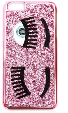 Chiara Ferragni I-phone Case cute iphone case for girls that is awesome for teens, funny and pretty, an amazing pink glitter back with a left eye.