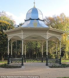 The Exhibition Park bandstand in Newcastle was built in 1887 was restored in 2015 Centre Pieces, Newcastle, Britain, Gazebo, Restoration, Environment, Victorian, Outdoor Structures, Park