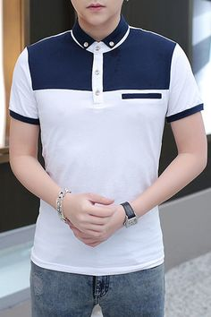 When colored in double blocking tones, then topped with decorative buttons and our outstanding design of short sleeves with contrast ribbed trim. Online Clothing Stores, Cosplay Costumes, Polo Ralph Lauren, Polo Shirt, Short Sleeves, Menswear, Mens Fashion, Clothes For Women, Cotton