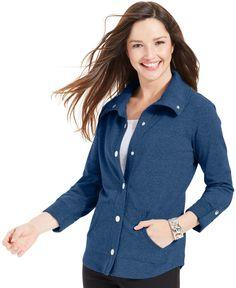 Style&co. Petite Three-Quarter-Sleeve Knit Jacket