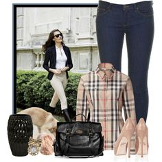 Designer Clothes, Shoes & Bags for Women Jean Outfits, Fall Outfits, Casual Outfits, Cute Outfits, Fashion Outfits, Camisa Burberry, Burberry Shirt, Casual Jeans, Jeans Style
