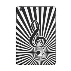 This eye-catching iPad Mini Retina case has a classical black and white treble clef music note on starburst background to produce a stylish and retro themed musical gift