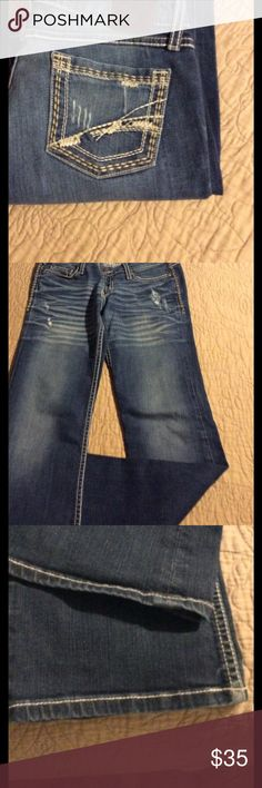 BKE Stella Bootcut Jeans Great jeans with lots of life left there is a little fraying on back of bottom legs only  Photo 3 is front legs,Photo 4 is back of legs...27/331/2 BKE Jeans Boot Cut
