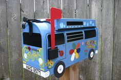 EXAMPLE - Custom Made To Order Volkswagen Bus Mailbox by TheBusBox - EXAMPLE - Choose Your Color - CustomBox VW Groovy Hippie Woodstock www.thebusbox.etsy.com