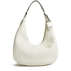 GUESS Zoie Woven Hobo Bag ($128) ❤ liked on Polyvore featuring bags, handbags, shoulder bags, bone, guess shoulder bag, guess handbags, woven hobo handbag, guess purses and white purse
