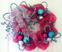 Mother's Day, Birthday, Baby Shower, celebration, St. Valentines Day, Spring, Summer, Hot Pink, Turquoise, Whimsical, Deco Mesh Wreath on Etsy, $50.00