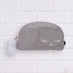 Sleeping Kitty Pencil Case - Grey #pencilcase #cat #kitty #animal #cute #nonsense #stationery Cute Stationary, Cute Cases, Sunglasses Case, Zip Around Wallet, Stationery, Kitty, School Life, Pencil, Cat