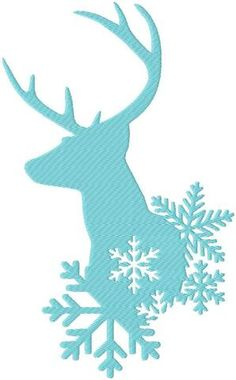 machine Embroidery Design Winter Deer with Snowflakes - comes in 3 sizes 9,7,5 inch