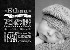Birth Announcements from sanozababydesigns.wordpress.com Chalkboard style birth announcements with your favourite baby pic!