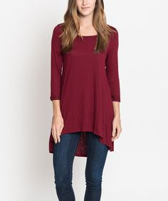Another great find on #zulily! Burgundy Hi-Low Tunic #zulilyfinds