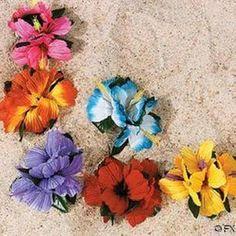 12 Hibiscus Hawaiian Tropical Flower Hair Clips Luau Party Favors Bridal Wedding | eBay