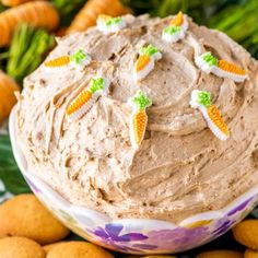 Carrot Cake Dip! Rich carrot cake and creamy cake batter dip collide in this easy-to-make party dip that's ideal for spring and perfect all year round. Use your favorite cookies for dipping to really accent the classic spice cake flavor. | HomemadeHooplah.com