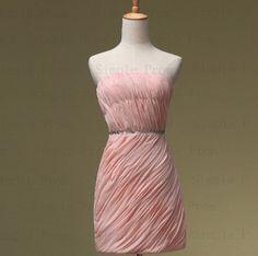 Custom Sheath Strapless Mini Sleeveless Chiffon Beading Short Prom Dress Bridesmaid Dress Formal Evening Dress Party Dress 2013