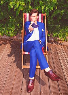 Matt Smith in a suit that may even be more blue than the TARDIS.
