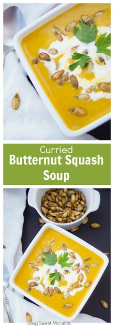 This vegan creamy Curried Butternut Squash Soup is made with ginger, coconut milk, and cooked in the Instant Pot to get comfort food in 20 min or less! More instant pot recipes at livingsweetmoments.com via @Livingsmoments