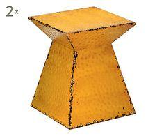 2 Tabourets MEI métal, jaune - H43
