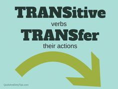 A quick and dirty tip to help you remember the difference between transitive verbs and intransitive verbs. Click through for example sentences. verb Transitive and Intransitive Verbs English Teaching Materials, Teaching English, Learning Goals, Always Learning, Intransitive Verb, Grammar Tips, Grammar Rules, Word Order, Learning Spanish