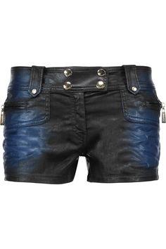 JUST CAVALLI Metallic Coated-Denim Shorts. #justcavalli #cloth #shorts