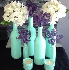 DIY painted wine bottle and misc. glassware for table decor