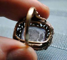 Antiguo Anillo De Oro Plata Diamantes Y Amatista - Italiano - $ 22.500,00 en MercadoLibre